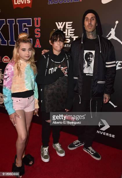 Alabama Barker Luella Landon Asher Barker and Travis Barker attends the 2018 Rookie USA Show at Milk Studios on February 15 2018 in Los Angeles...