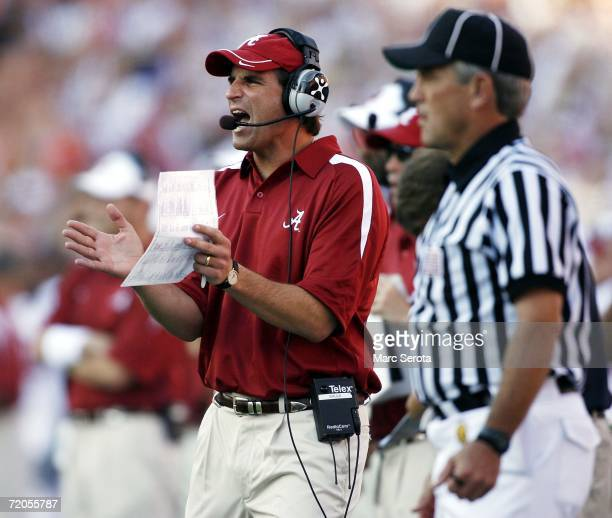 Alabama Crimson head coach Mike Shula shouts instruction against the Florida Gators September 30 2006 at Ben Hill Griffin Stadium at Florida Field in...