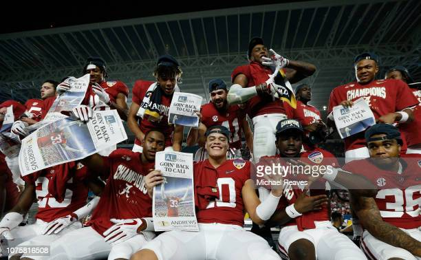 Alabama Crimson Tide celebrates their 45-34 victory over the Oklahoma Sooners during the College Football Playoff Semifinal at the Capital One Orange...