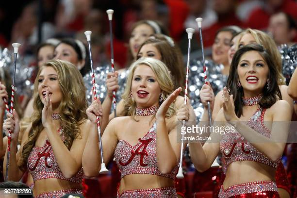 Alabama Crimson Tide cheerleader in the stands during the second half against the Georgia Bulldogs in the CFP National Championship presented by ATT...