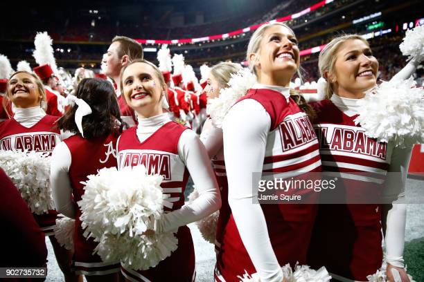 Alabama Crimson Tide cheerleader on the field prior to the game against the Georgia Bulldogs in the CFP National Championship presented by ATT at...
