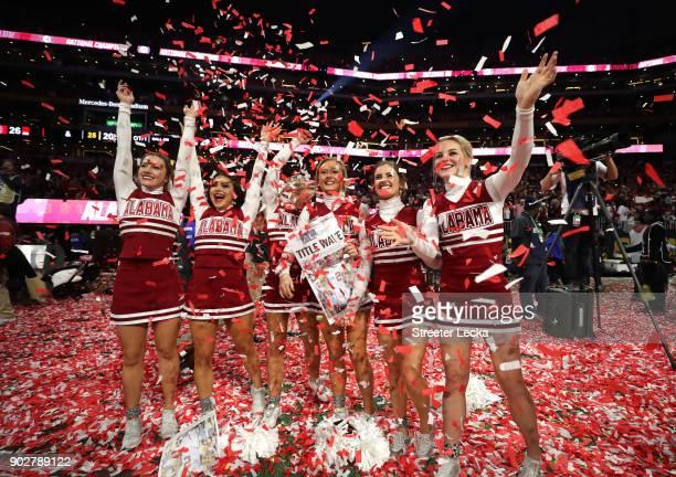 Alabama Crimson Tide cheerleaders celebrate beating the Georgia Bulldogs in the CFP National Championship presented by ATT at MercedesBenz Stadium on...