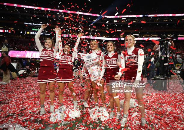 Alabama Crimson Tide cheerleaders celebrate beating the Georgia Bulldogs in the CFP National Championship presented by ATT at MercedesBenz Stadium on...