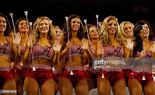 Alabama Crimson Tide cheerleaders perform during the 2016 College Football Playoff National Championship Game against the Clemson Tigers at...