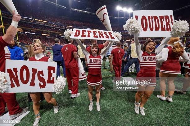 Alabama Crimson Tide cheerleaders perform during the College Football Playoff National Championship Game between the Alabama Crimson Tide and the...