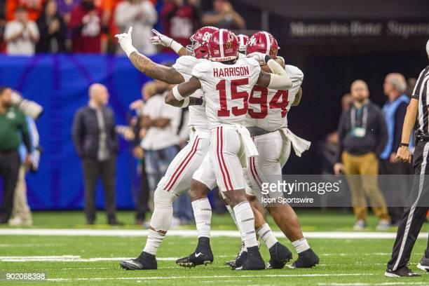 Alabama Crimson Tide defensive lineman Da'Ron Payne celebrates after a fumble during the Allstate Sugar Bowl between the Alabama Crimson Tide and the...