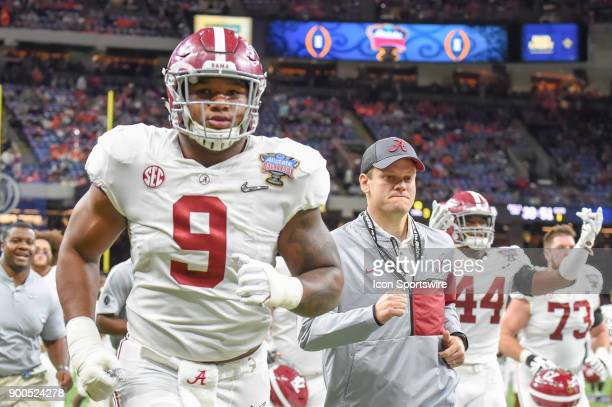 Alabama Crimson Tide defensive lineman Da'Shawn Hand departs the field before the College Football Playoff Semifinal at the Allstate Sugar Bowl...