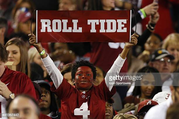 Alabama Crimson Tide fan during the 2017 College Football National Championship Game between the Clemson Tigers and Alabama Crimson Tide on January 9...
