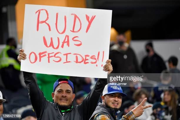 Alabama Crimson Tide fan holds a sign during the College Football Playoff Semifinal at the Rose Bowl football game against the Notre Dame Fighting...