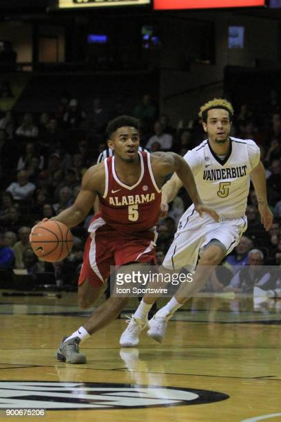 Alabama Crimson Tide guard Avery Johnson Jr brings the ball down the floor in the second half of a Southeastern Conference game between the...