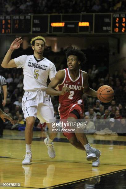 Alabama Crimson Tide guard Collin Sexton drives the baseline in the second half of a Southeastern Conference game between the Vanderbilt Commodores...