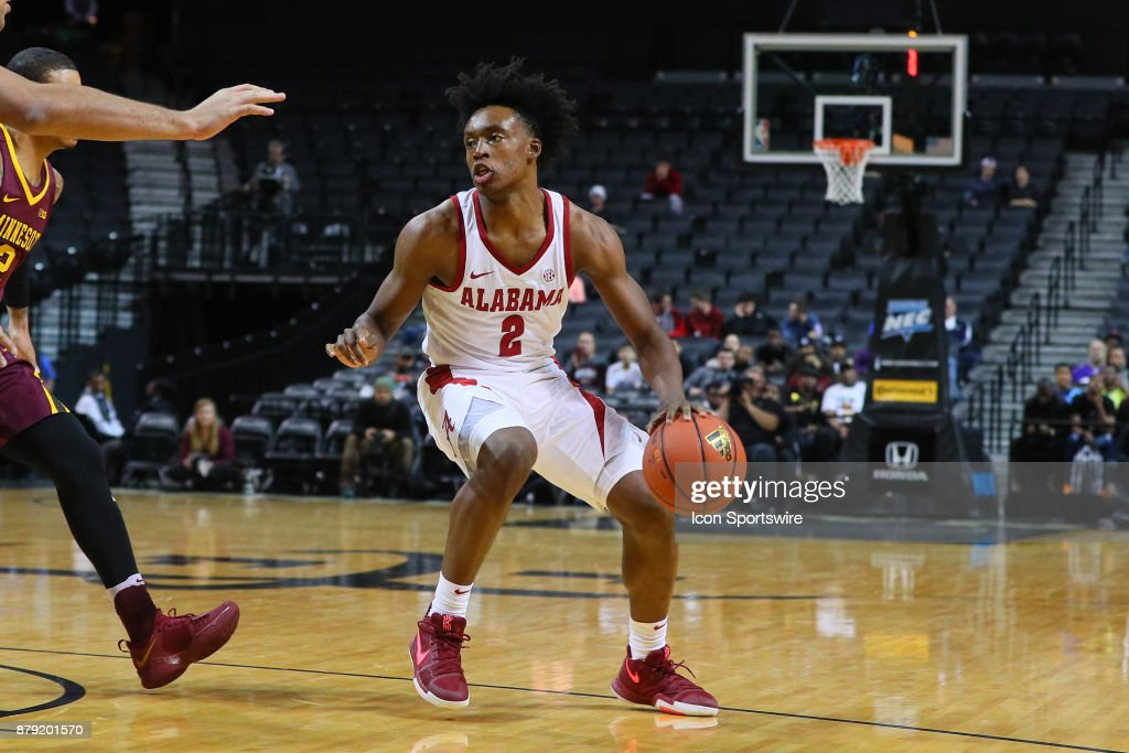 Alabama Crimson Tide guard Collin Sexton (2) during the first half of the Barclays Center Classic College Basketball game between the Minnesota Golden Gophers and the Alabama Crimson Tide on November 25, 2017, at the Barclays Center in Brooklyn, NY.