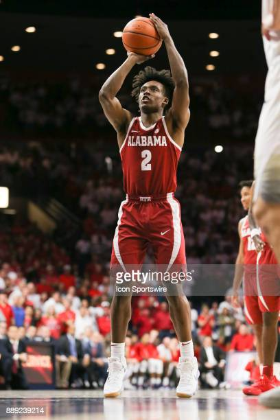 Alabama Crimson Tide guard Collin Sexton shoots a free throw during a college basketball game between Alabama Crimson Tide and Arizona Wildcats on...