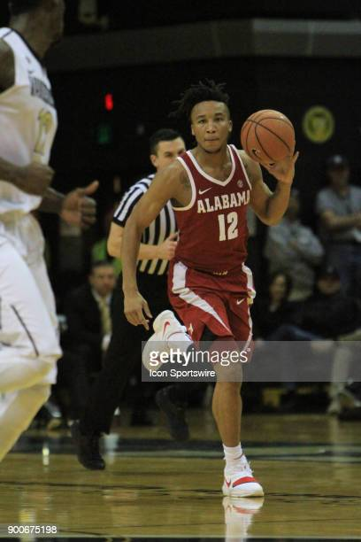 Alabama Crimson Tide guard Dazon Ingram brings the ball down the floor in the second half of a Southeastern Conference game between the Vanderbilt...