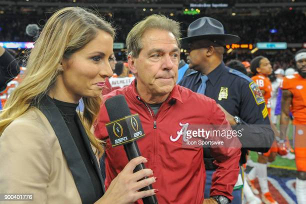 Alabama Crimson Tide head coach Nick Saban is interviewed by ESPN sideline reporter Laura Rutledge following the College Football Playoff Semifinal...