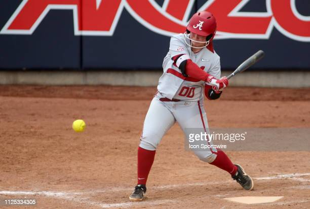 Alabama Crimson Tide infielder Maddie Morgan swings at the ball during a college softball game between the Alabama Crimson Tide and the New Mexico...