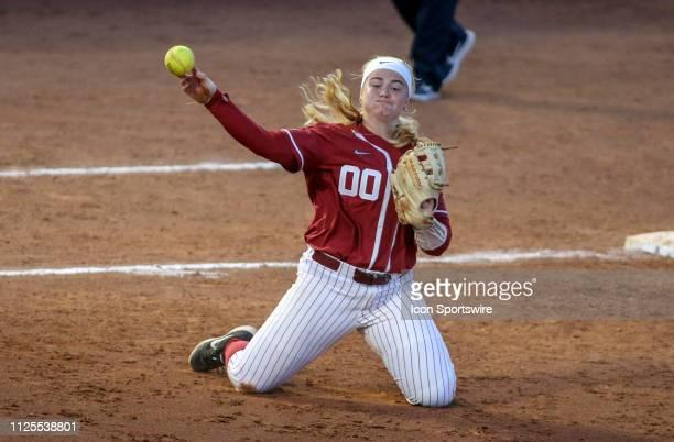 Alabama Crimson Tide infielder Maddie Morgan throws the ball during a college softball game between the Alabama Crimson Tide and the Arizona Wildcats...