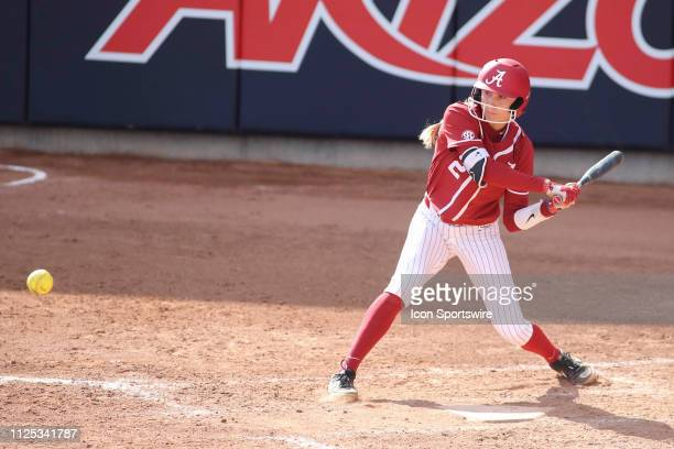 Alabama Crimson Tide infielder Skyler Wallace swings a pitch during a college softball game between the Alabama Crimson Tide and the Cal State...