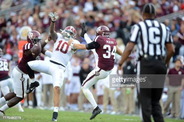 Alabama Crimson Tide LB Ale Kaho blocks a punt by Braden Mann during game against the Texas A & M Aggies on October 12, 2019 at Kyle Field in College...