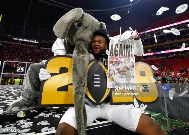 Alabama Crimson Tide linebacker Ben Davis celebrates the victory with mascot Big Al at the conclusion of the College Football Playoff National...