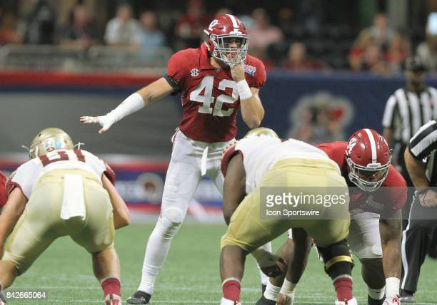 Alabama Crimson Tide linebacker Keith Holcombe calls the defensive play during the ChickfilA Kickoff Classic between the Alabama Crimson Tide and the...