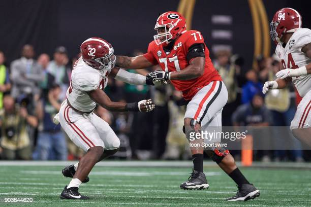 Alabama Crimson Tide linebacker Rashaan Evans battles with Georgia Bulldogs offensive tackle Isaiah Wynn during the College Football Playoff National...