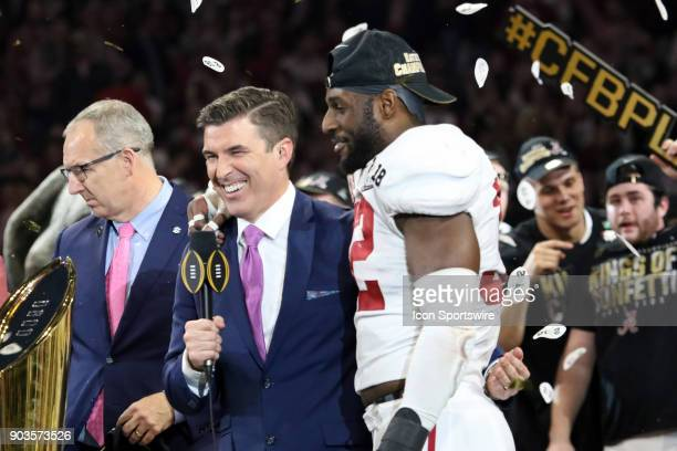 Alabama Crimson Tide linebacker Rashaan Evans speaks with Rece Davis following the College Football Playoff National Championship Game between the...