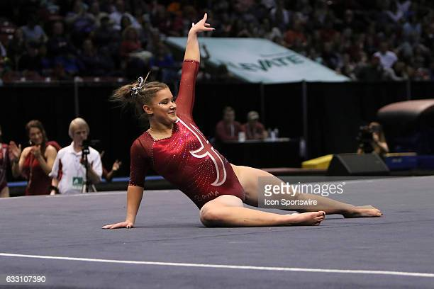 Alabama Crimson Tide Maddie Desch performs her floor exercise at the Elevate the Stage Meet between the Auburn Tigers and the Alabama Crimson Tide...