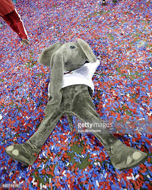 Alabama Crimson Tide mascot Big Al celebrates the victory in the confetti at the conclusion of the ChickFilA Peach Bowl football game between the...