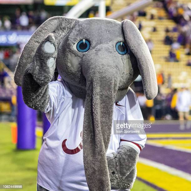 Alabama Crimson Tide mascot 'Big Al' entertains the crowd during a game between the LSU Tigers and Alabama Crimson Tide on November 3 2018 at Tiger...
