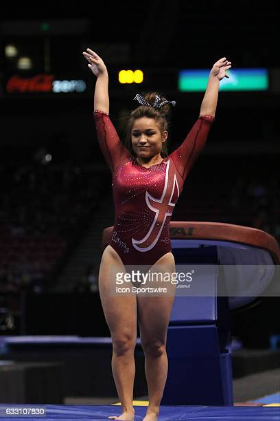 Alabama Crimson Tide Nikie Guerroro lands her vault at the Elevate the Stage Meet between the Auburn Tigers and the Alabama Crimson Tide Alabama...