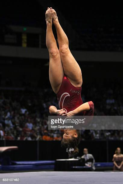 Alabama Crimson Tide Nikie Guerroro performs her floor exercise at the Elevate the Stage Meet between the Auburn Tigers and the Alabama Crimson Tide...