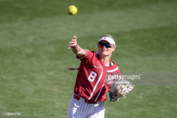 Alabama Crimson Tide outfield KB Sides throws the ball during a college softball game between the Alabama Crimson Tide and the Cal State Fullerton...