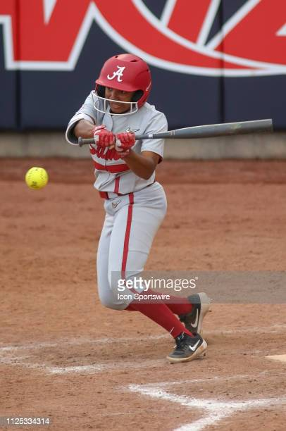 Alabama Crimson Tide outfielder Elissa Brown watches the ball during a college softball game between the Alabama Crimson Tide and the New Mexico...