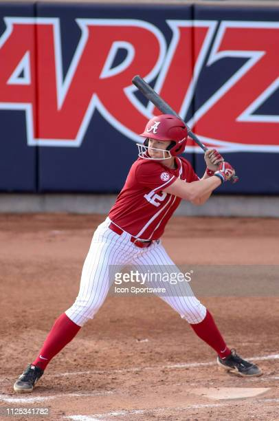 Alabama Crimson Tide outfielder Kaylee Tow bats during a college softball game between the Alabama Crimson Tide and the Cal State Fullerton Titans on...