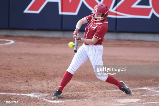 Alabama Crimson Tide outfielder Kaylee Tow hits the ball during a college softball game between the Alabama Crimson Tide and the Cal State Fullerton...