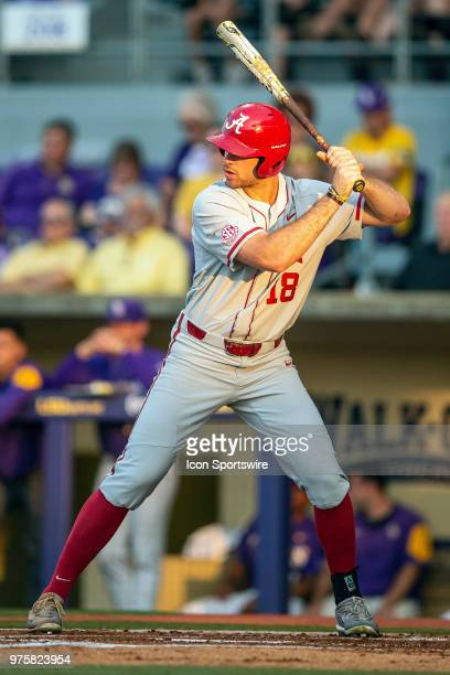 Alabama Crimson Tide outfielder Keith Holcombe bats during a game between the Alabama Crimson Tide and the LSU Tigers on May 12 at Alex Box Stadium...