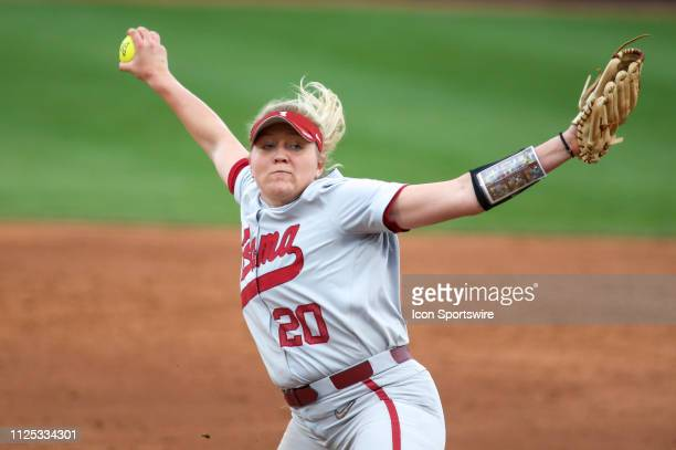 Alabama Crimson Tide pitcher Sarah Cornell pitches during a college softball game between the Alabama Crimson Tide and the New Mexico Lobos on...
