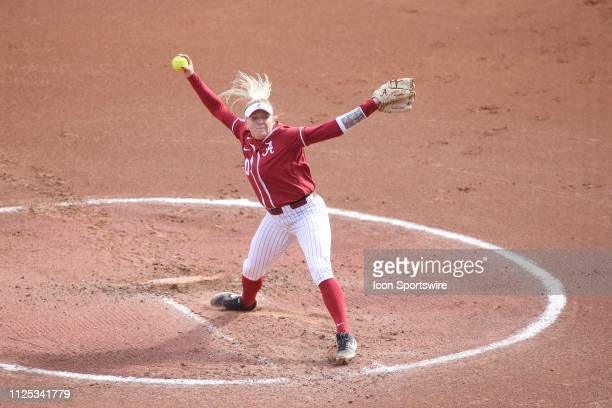 Alabama Crimson Tide pitcher Sarah Cornell pitches during a college softball game between the Alabama Crimson Tide and the Cal State Fullerton Titans...