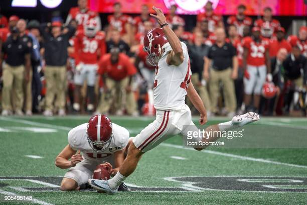 Alabama Crimson Tide place kicker Andy Pappanastos attempts a field goal kick in the fourth quarter during the College Football Playoff National...