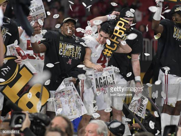 Alabama Crimson Tide players celebrate after the College Football Playoff National Championship Game between the Alabama Crimson Tide and the Georgia...