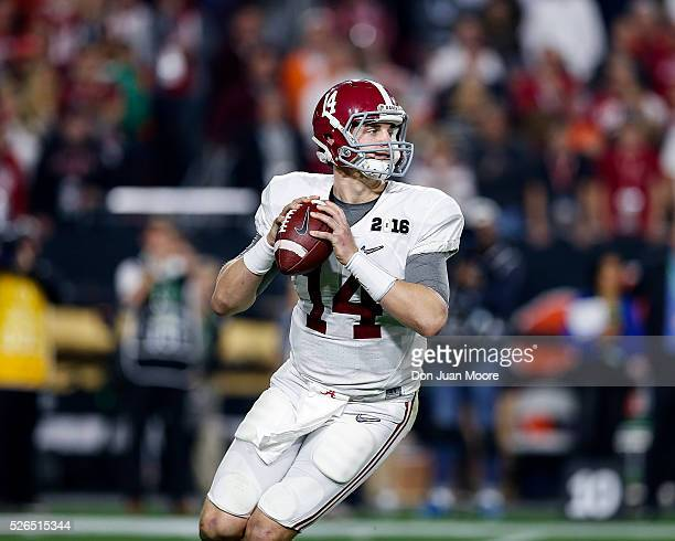 Alabama Crimson Tide Quarterback Jake Coker on a passing play during the College Football National Championship Game against the Clemson Tigers at...