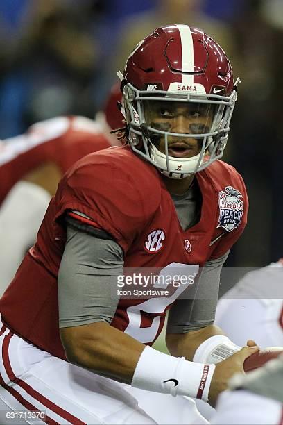 Alabama Crimson Tide quarterback Jalen Hurts during the College Football Playoff Semifinal at the ChickfilA Peach Bowl between the Washington Huskies...