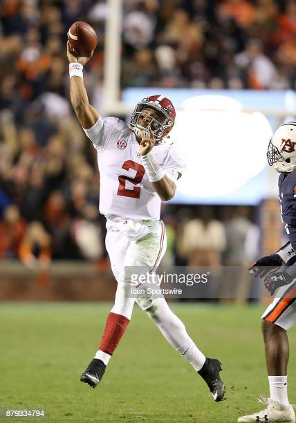 Alabama Crimson Tide quarterback Jalen Hurts throws a pass during a football game between the Auburn Tigers and the Alabama Crimson Tide Saturday...