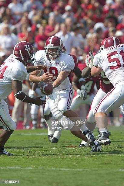 Alabama Crimson Tide quarterback Marc Guillon hands the ball off to running back Kenneth Darby during a 27 to 10 loss to the Arkansas Razorbacks on...