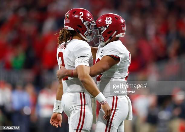 Alabama Crimson Tide quarterback Tua Tagovailoa celebrates a touchdown with fellow teammate quarterback Jalen Hurts during the College Football...