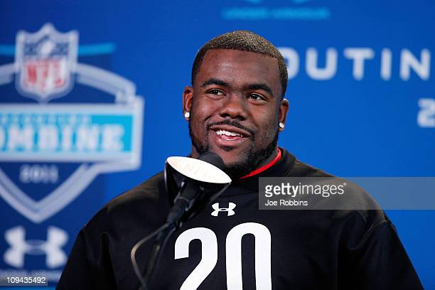 Alabama Crimson Tide running back Mark Ingram answers questions during a media session at the 2011 NFL Scouting Combine at Lucas Oil Stadium on...