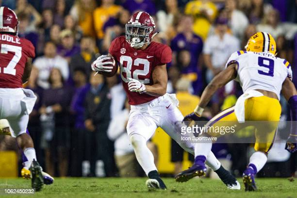 Alabama Crimson Tide tight end Irv Smith Jr catches a pass during a game between the LSU Tigers and Alabama Crimson Tide on November 3 2018 at Tiger...