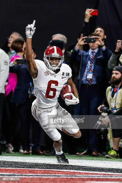 Alabama Crimson Tide wide receiver DeVonta Smith celebrates after making the gamewinning catch in overtime the College Football Playoff National...