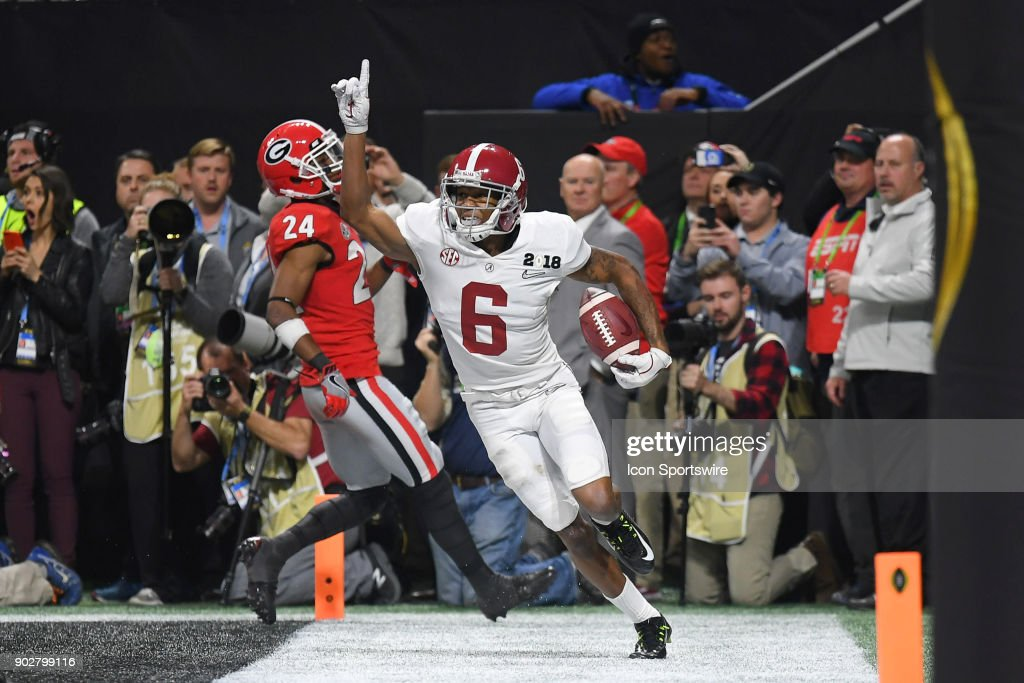 Alabama Crimson Tide wide receiver DeVonta Smith (6) celebrates after catching the game-winning touchdown in overtime during the College Football Playoff National Championship Game between the Alabama Crimson Tide and the Georgia Bulldogs on January 8, 2018 at Mercedes-Benz Stadium in Atlanta, GA.